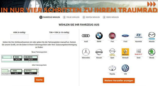 Reifen Onlineshop - Reifenvertrieb 24 - Komplettradsuche